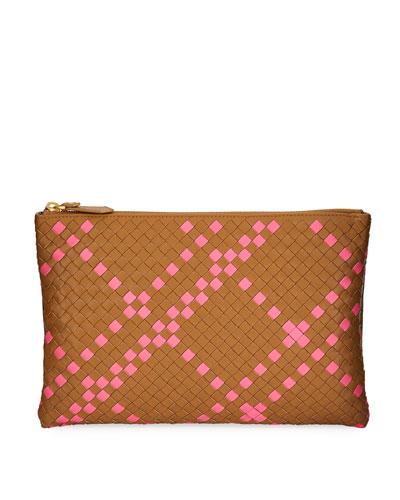 Two-Tone Intrecciato Clutch Bag