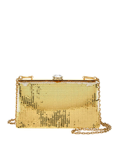 Sequin and Crystal Clutch Bag  Gold