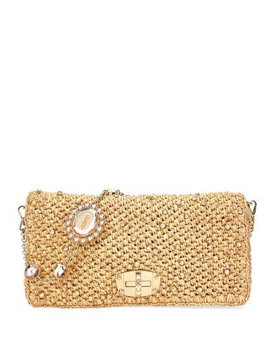 Club Collection Raffia Diamante Shoulder Bag