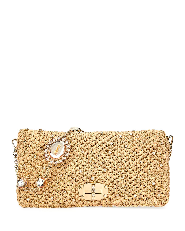 144c861ed497 Miu Miu Club Collection Raffia Diamante Shoulder Bag