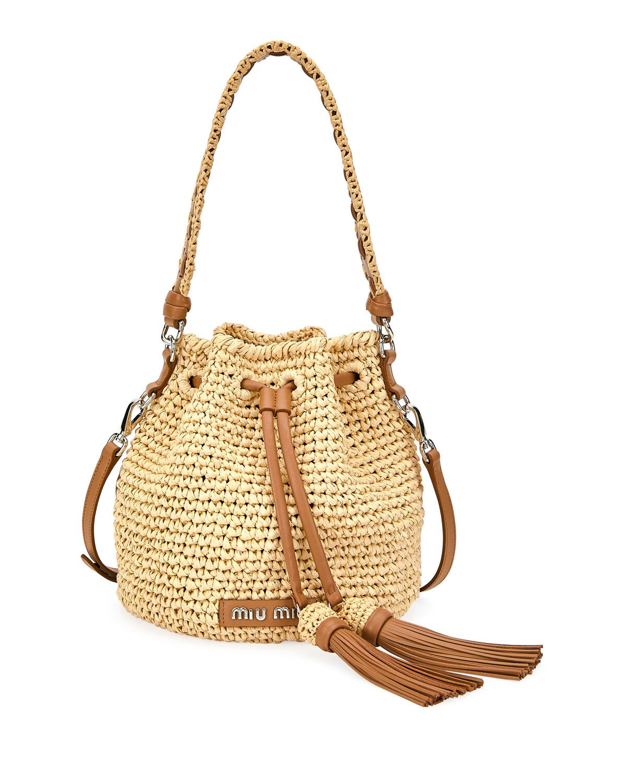 8b57d76d6439 Miu Miu Raffia Bucket Bag with Leather Tassel