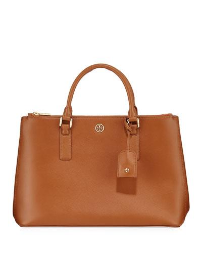 Robinson Double-Zip Saffiano Tote Bag