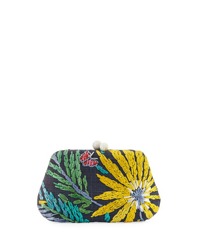 Rosie Embroidered Clutch Bag with Butterfly