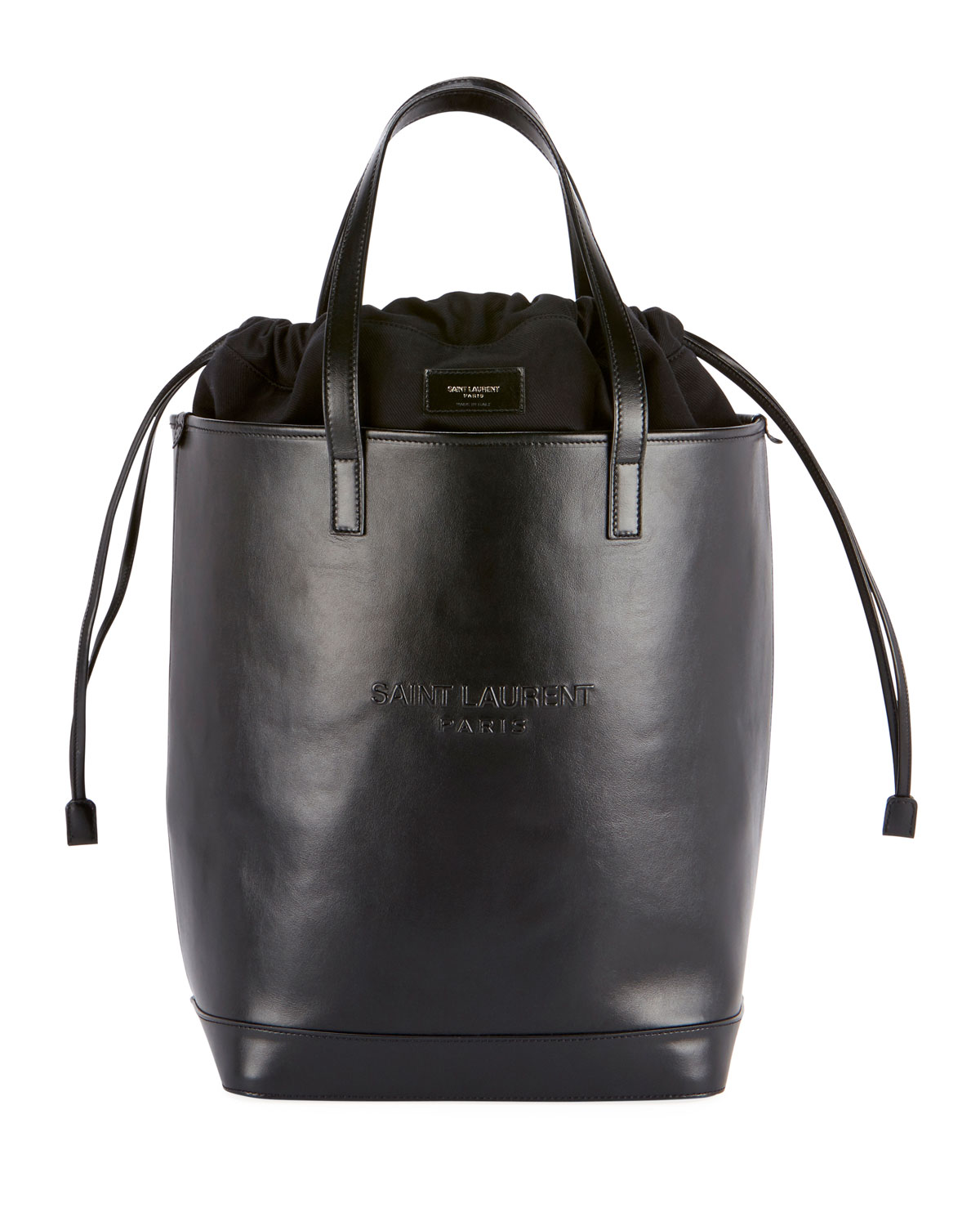 9233a492088f1 Saint Laurent Teddy Harlem Large Leather Bucket Bag with Embossed ...