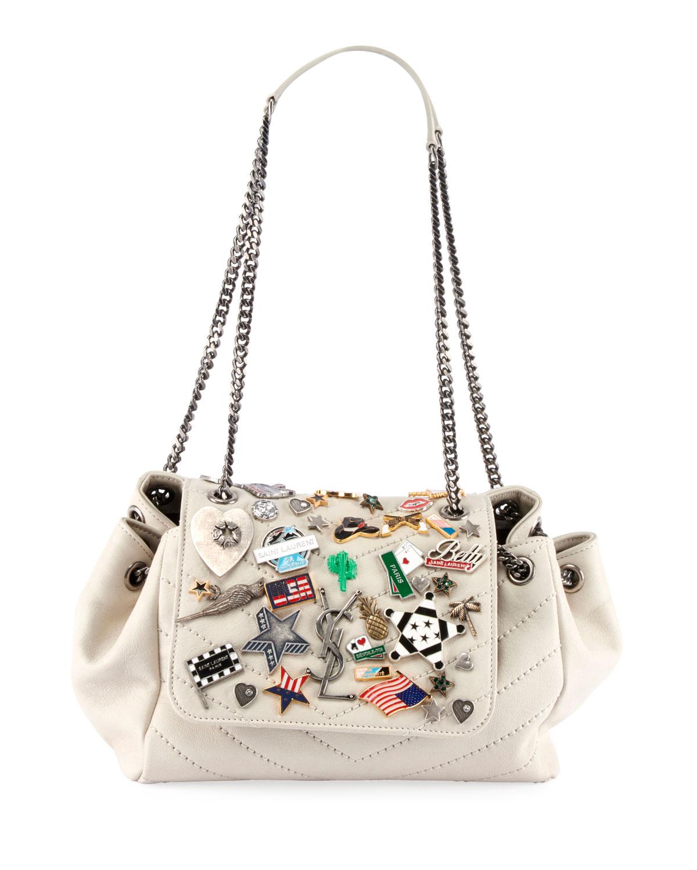 Saint Laurent Nolita Small YSL Monogram Flap Shoulder Bag with Pins ... a50e0bd5ea9eb