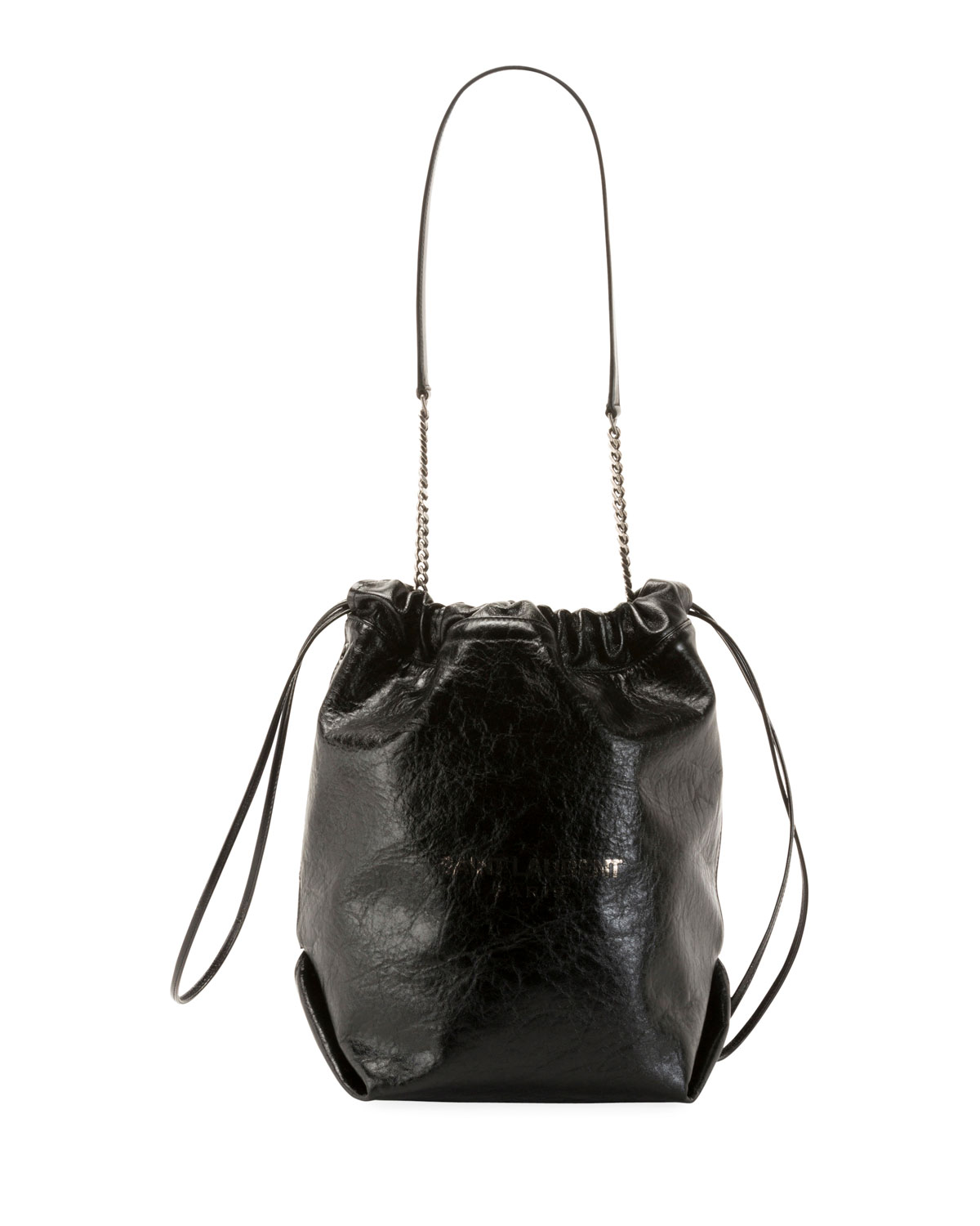 Saint Laurent Teddy Large Crinkle Leather Drawstring Bucket Bag ... 1b644d71216ce