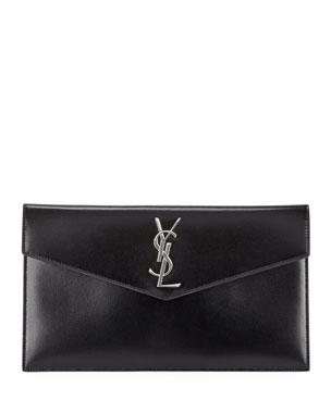 Saint Laurent V-Flap YSL Monogram Leather Pouch Clutch Bag 6e1565554a