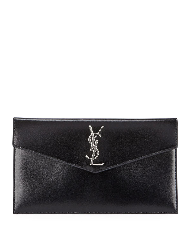 535ba9d6064f Saint Laurent V-Flap YSL Monogram Leather Pouch Clutch Bag