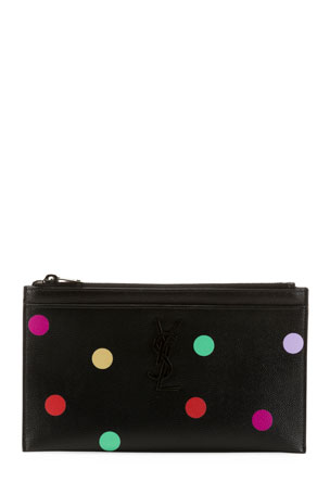 Saint Laurent YSL Monogram Polka-Dot Zip Pouch Wallet