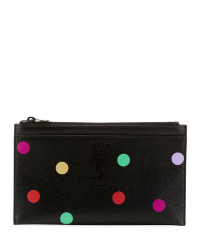 YSL Monogram Polka-Dot Zip Pouch Wallet