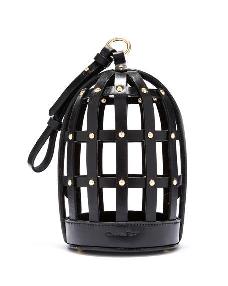 Oscar De La Renta BIRD CAGE LEATHER SHOULDER BAG