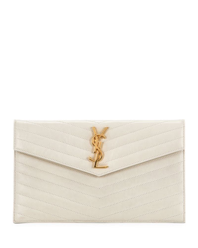 YSL Monogram V-Flap Quilted Pouch Clutch Bag