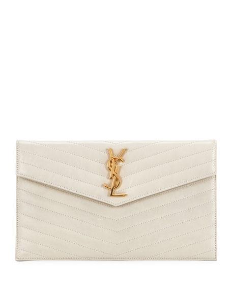 Saint Laurent YSL Monogram V-Flap Quilted Pouch Clutch Bag