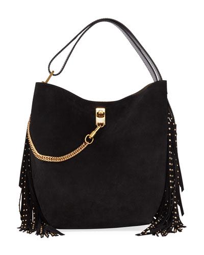 GV Fringed Suede & Leather Bucket Bag