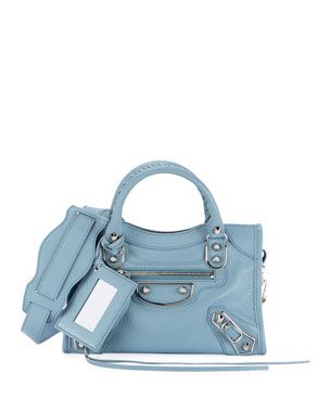 7046ed8c435 Balenciaga Classic Nickel City Mini AJ Bag, Bright Blue