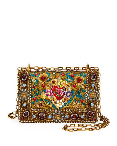 DG Girls Embellished Jacquard Shoulder Bag