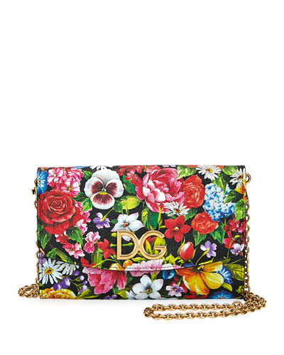 Floral Stampa Dauphine Wallet on Crossbody Chain