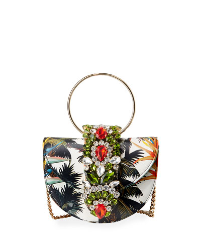 Brigitte Mini Jeweled Botanical Top-Handle Bag