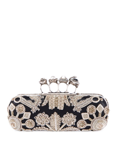Jewelled Four Ring Clutch w/ Crystal Embroidered Swans