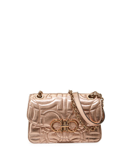 Salvatore Ferragamo Gancio Quilted Metallic Crossbody Bag