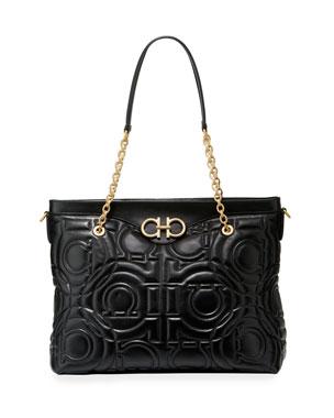 ee8a1d151678 Salvatore Ferragamo Gancio Grande Quilted Leather Shoulder Bag