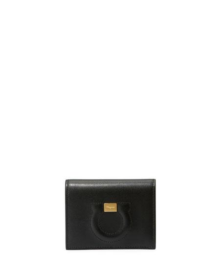 Salvatore Ferragamo Gancio City Leather Wallet, Black