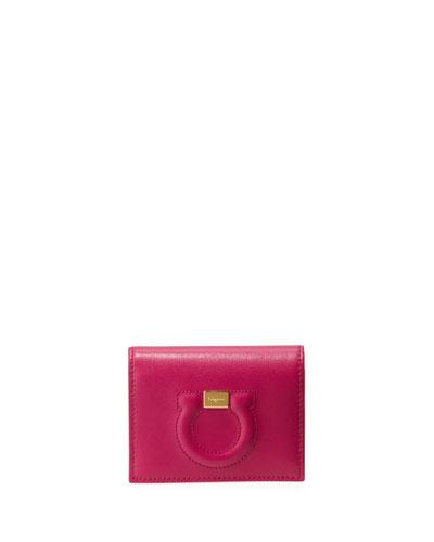 Gancio City Leather Wallet  Pink