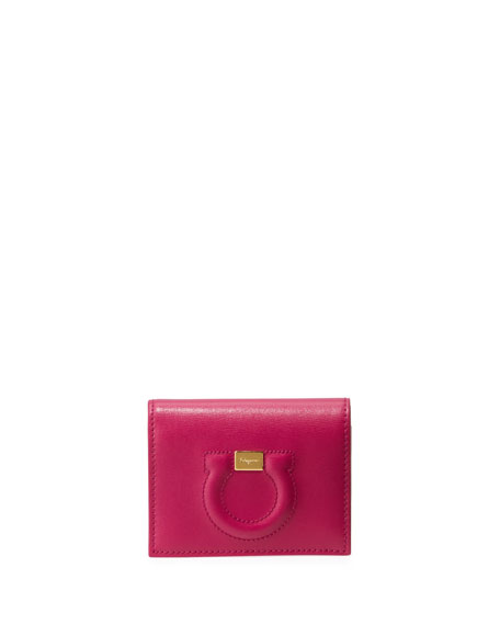 Salvatore Ferragamo Gancio City Leather Wallet, Pink