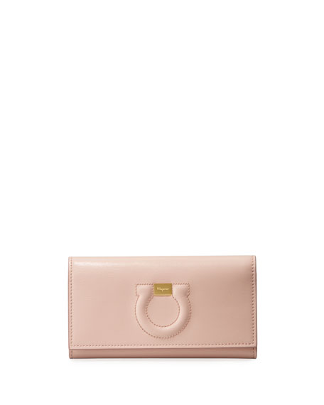 Salvatore Ferragamo Gancio City Leather Wallet Bag, Light Pink