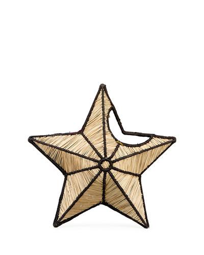Small Star Straw Clutch Bag