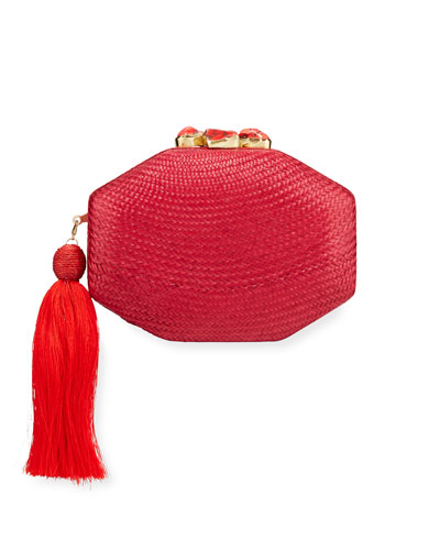 Sofia Woven Octagon Clutch Bag, Red