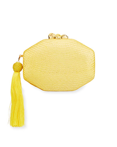 Sofia Woven Octagon Clutch Bag  Yellow