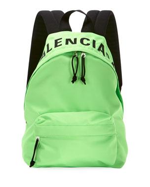 0ed628badfa8 Balenciaga Wheel Logo-Print Nylon Backpack