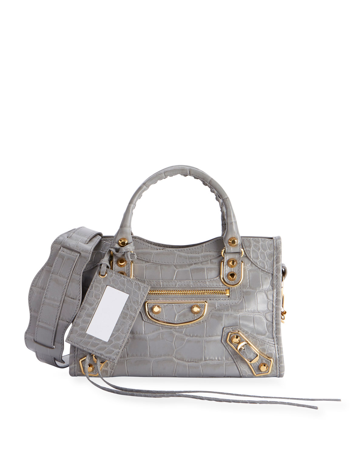b2eabdea6b455 Balenciaga Metallic Edge Mini City AJ Croc-Embossed Bag