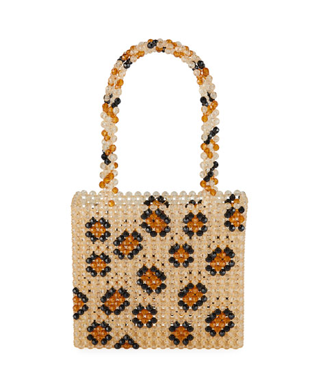Susan Alexandra Leopard-Print Beaded Top Handle Bag