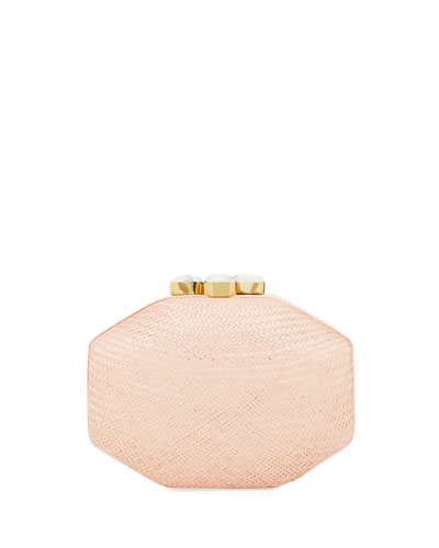 Sofia Straw Clutch Polygon Bag  Pink
