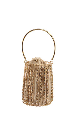 Rosantica Kill Bill Chain-Frame Velvet Minaudiere Bag
