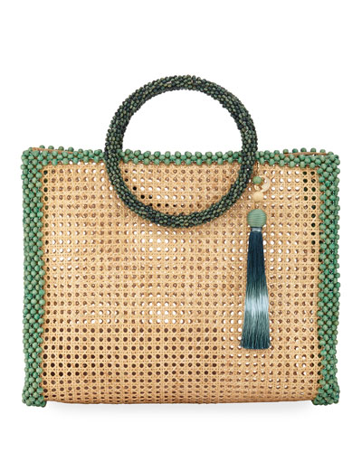 Elle XL Beaded Straw Tote Bag