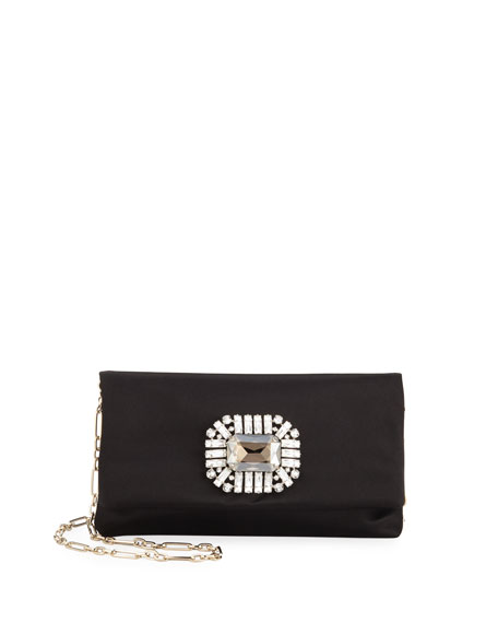 Jimmy Choo Titania Jeweled Satin Clutch Bag, Black
