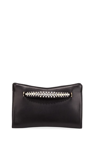 Jimmy Choo Venus Crystal-Handle Leather Clutch Bag