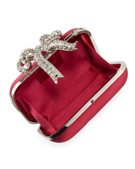 Jimmy Choo Cloud Satin Bow Clutch Bag