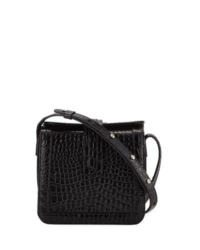 Jade Croc-Embossed Crossbody Bag