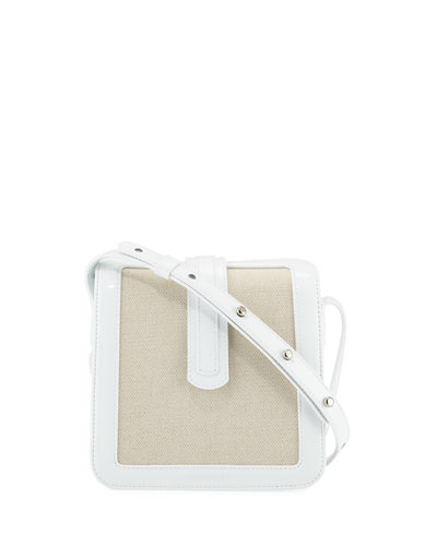 Jade Patent/Canvas Crossbody Bag