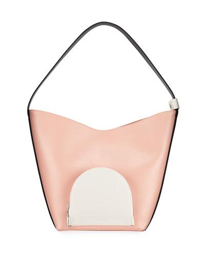 Eva Colorblock Leather Bucket Bag  Blush