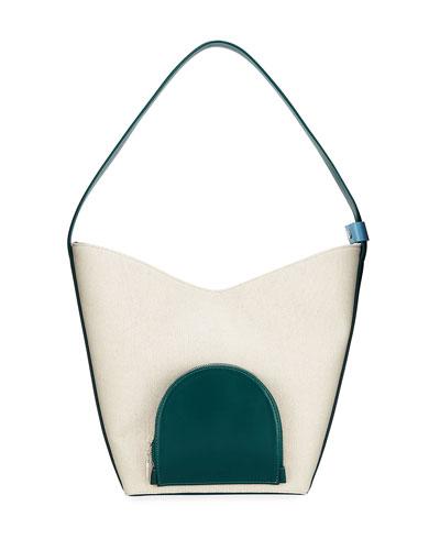 Eva Colorblock Canvas & Leather Bucket Bag  White/Green
