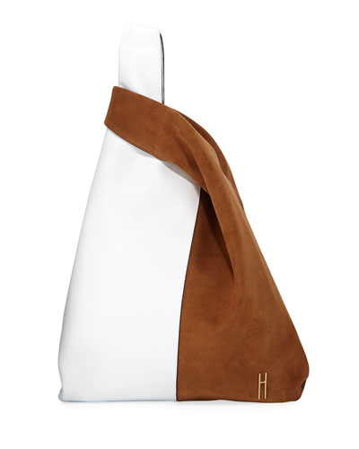 Shopper Two-Tone Leather Tote Bag