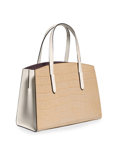 Coach 1941 Charlie Colorblock Croc-Embossed Leather Carryall Tote Bag