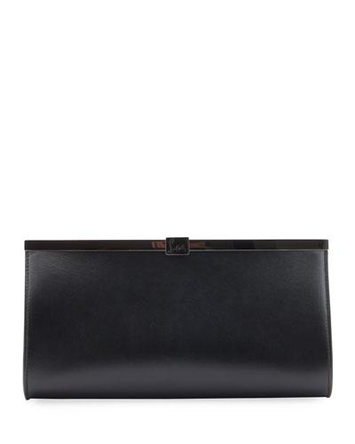 Palmette Smooth Leather Clutch Bag