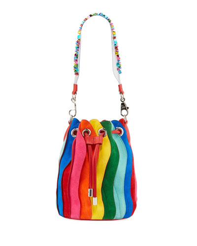 Marie Jane Rainbow Suede Bucket Bag