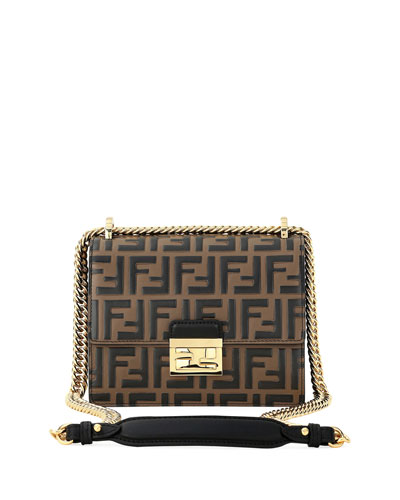 Kan I FF-Embossed Two-Tone Crossbody Bag